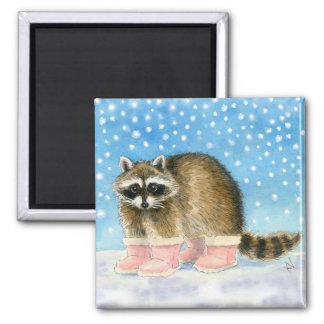 Imán del día de la nieve del mapache