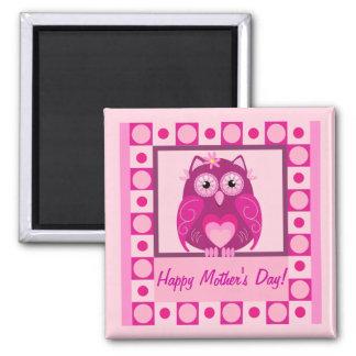 Imán del día de madre con el búho y el texr rosado