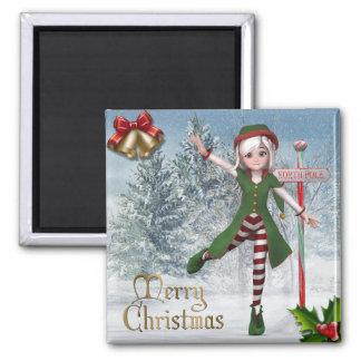 Imán del duende de Sadie de las Felices Navidad