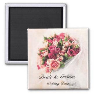 Imán del favor del boda del ramo de los rosas
