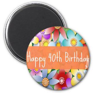 Imán del flower power del feliz cumpleaños de la d