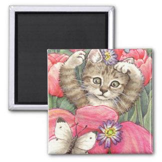 Imán del gatito del tulipán