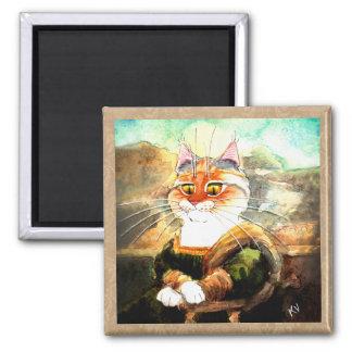 Imán del gato de la parodia de Mona Lisa