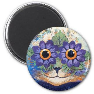 Imán del gato del Hippie del flower power del vint