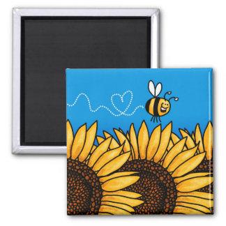 imán del girasol del rastro de la abeja
