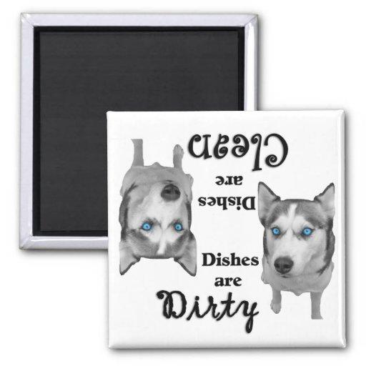 Imán del lavaplatos de los amantes del husky siber