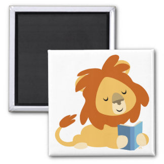 Imán del león del dibujo animado de la lectura