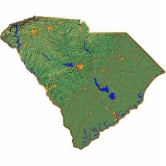 Imán del mapa de Carolina del Sur cortado Escultura Fotográfica