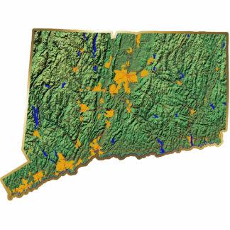 Imán del mapa de Connecticut cortado Imán Fotoescultura