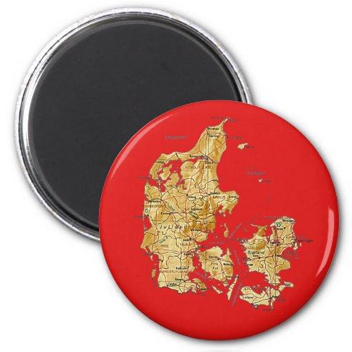 Imán del mapa de Dinamarca
