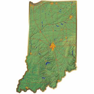 Imán del mapa de Indiana cortado Imán Fotoescultura