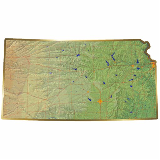 Imán del mapa de Kansas cortado Esculturas Fotograficas