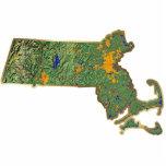 Imán del mapa de Massachusetts cortado Esculturas Fotográficas