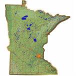Imán del mapa de Minnesota cortado Esculturas Fotográficas