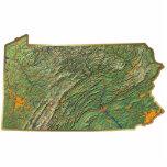 Imán del mapa de Pennsylvania cortado Esculturas Fotograficas