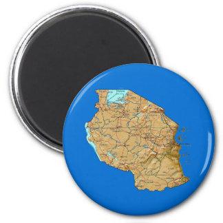Imán del mapa de Tanzania