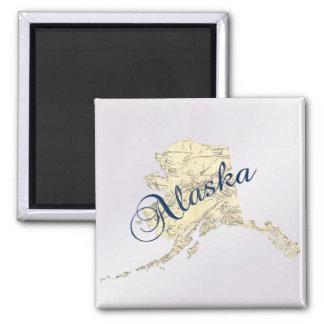 Imán del mapa del estado de Alaska