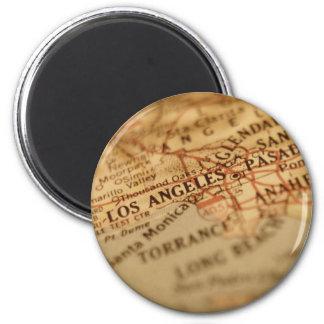 Imán del mapa del vintage de LOS ÁNGELES