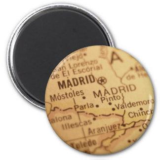 Imán del mapa del vintage de Madrid