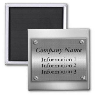 Imán del marco metálico del nombre de compañía