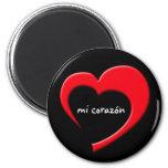 Imán del MI Corazón II (rojo en negro)
