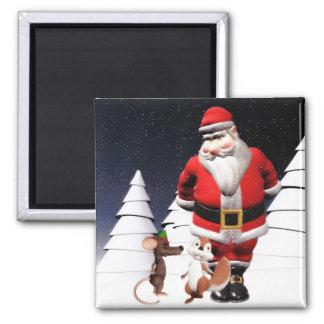 Imán del navidad de Santa y del ratón