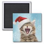 Imán del navidad del gato del canto