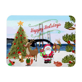 Imán del navidad del puente de Mackinac