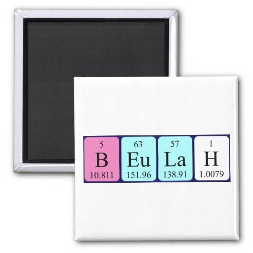 Imán del nombre de la tabla periódica de Beulah