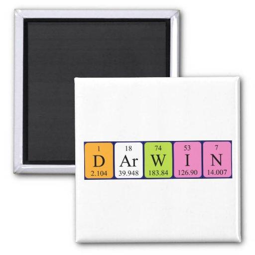 Imán del nombre de la tabla periódica de Darwin