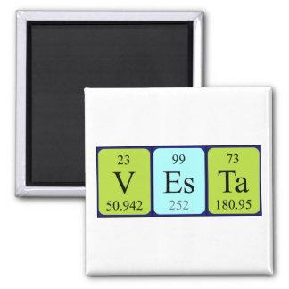 Imán del nombre de la tabla periódica de Vesta