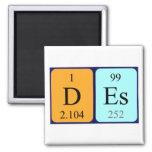 Imán del nombre de la tabla periódica del DES
