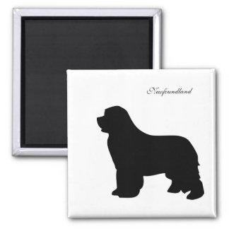 Imán del perro de Terranova, silueta negra