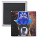 Imán del perro del boxeador de la Feliz Año Nuevo