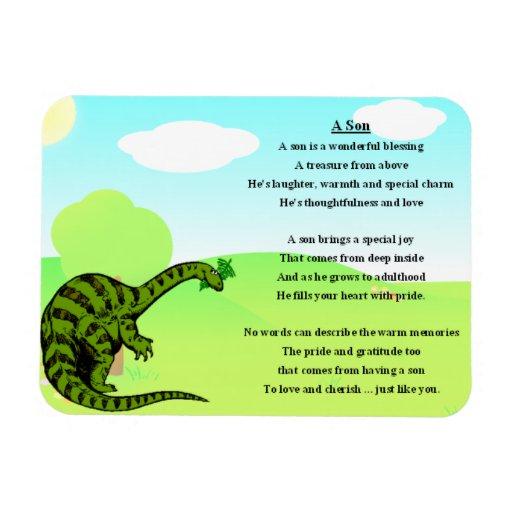 Imán del poema del hijo del dinosaurio