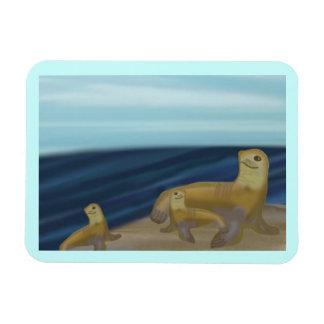 Imán del premio de la familia del león marino