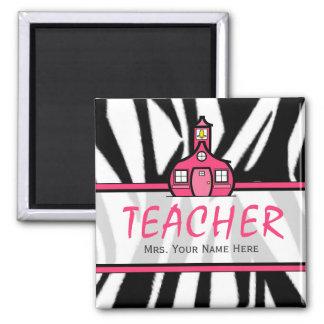 Imán del profesor - estampado de zebra negro