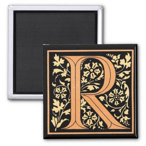 Imán del ` R floral del monograma del vintage' -