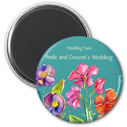 Imán del recuerdo del boda del jardín de flores