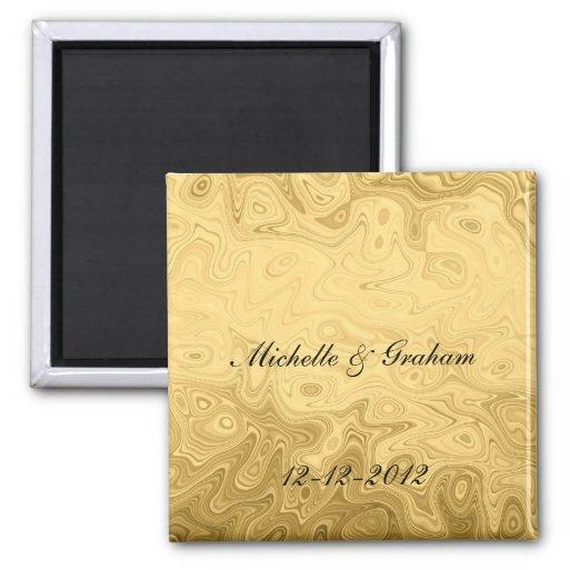 Imán del recuerdo del boda del oro