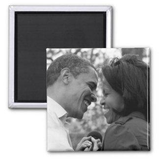 Imán del refrigerador de Barack y de Michelle