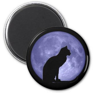 Imán del refrigerador de la luna azul del gato neg