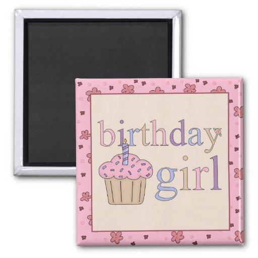 Imán del refrigerador del chica del cumpleaños