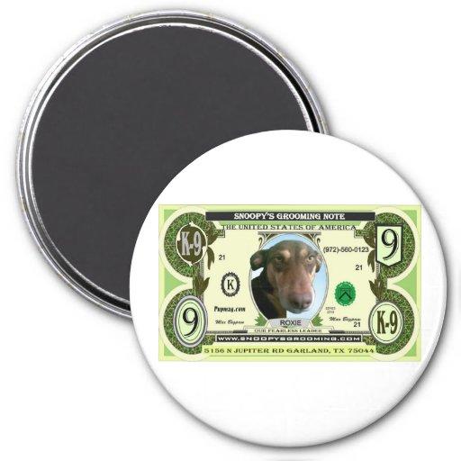 Imán del refrigerador del dólar del perrito