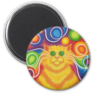 imán del refrigerador del Psy-gato-delic redondo
