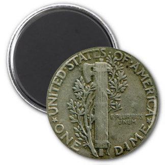 Imán del revés de la moneda de diez centavos de lo