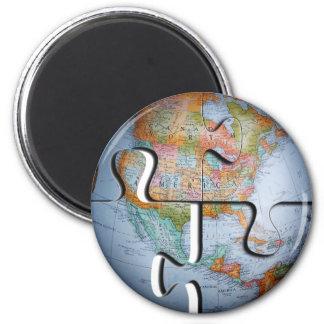 Imán del rompecabezas del globo de la tierra
