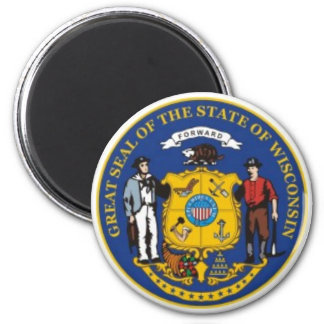 Imán del sello del estado de Wisconsin