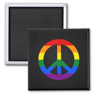 Imán del signo de la paz de la bandera de LGBT