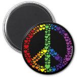 Imán del signo de la paz de los corazones del arco